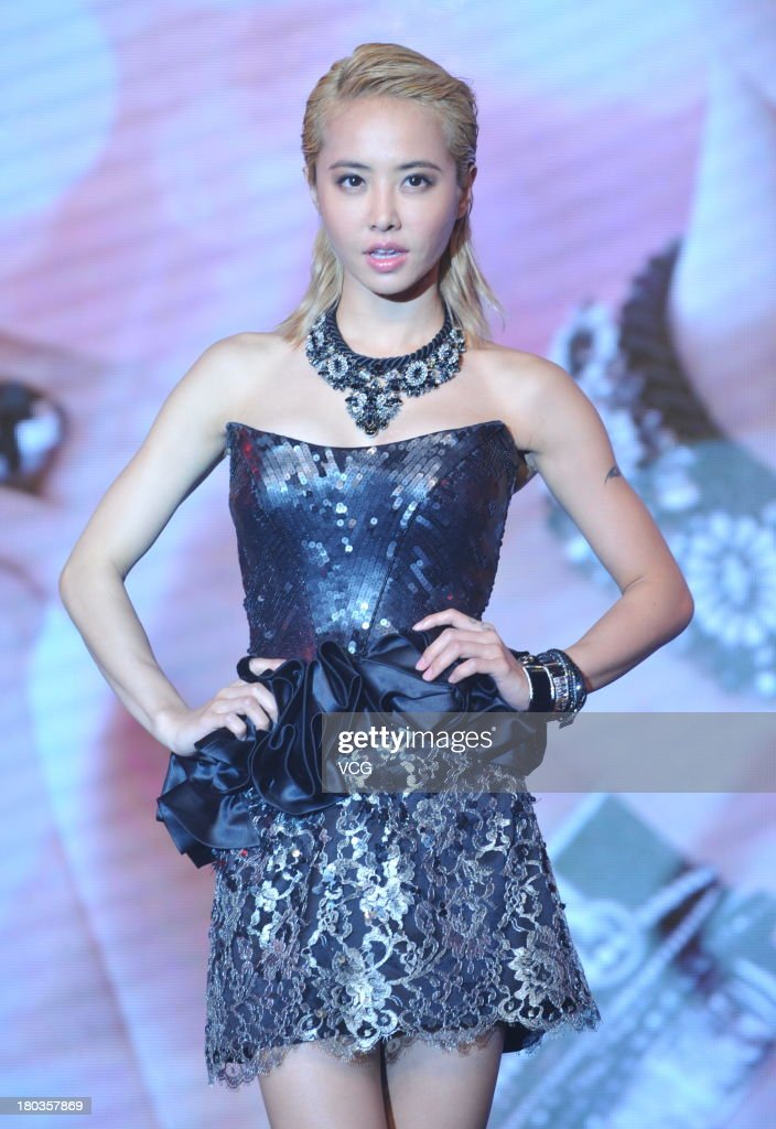 Singer Jolin Tsai attends Swarovski promotional event at Oriental Plaza on September 11, 2013 in Beijing, China.