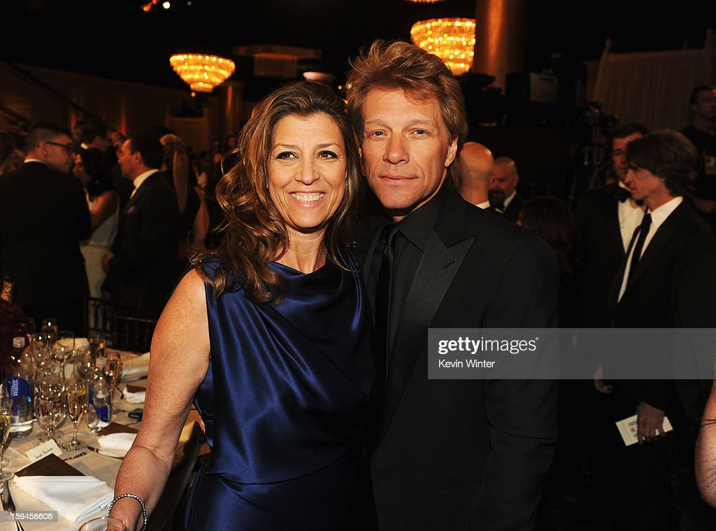 Singer <a gi-track='captionPersonalityLinkClicked' href=/galleries/search?phrase=Jon+Bon+Jovi&family=editorial&specificpeople=201527 ng-click='$event.stopPropagation()'>Jon Bon Jovi</a> (R) and guest attend the 70th Annual Golden Globe Awards Cocktail Party held at The Beverly Hilton Hotel on January 13, 2013 in Beverly Hills, California.