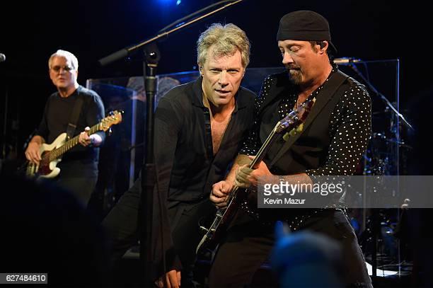 Singer Jon Bon Jovi and John Shanks perform during Bon Jovi Live presented by SiriusXM during Art Basel at the Faena Theater on December 3 2016 in...