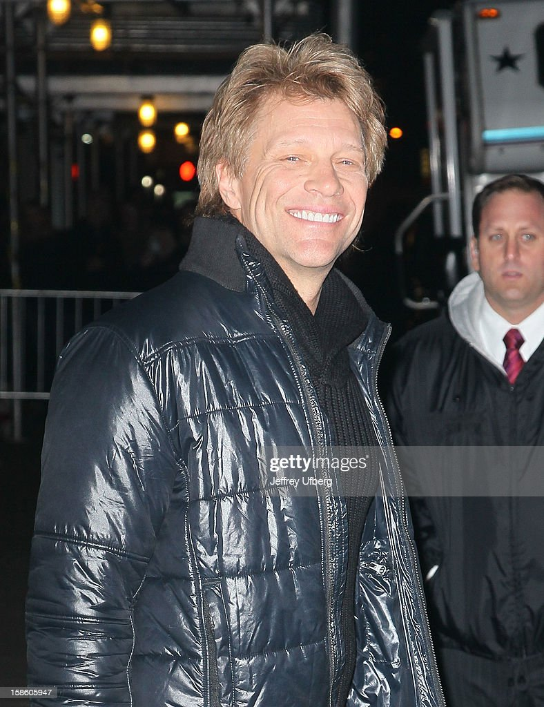 Singer Jon Bon Jovi departs 'Late Show with David Letterman' at Ed Sullivan Theater on December 20, 2012 in New York City.