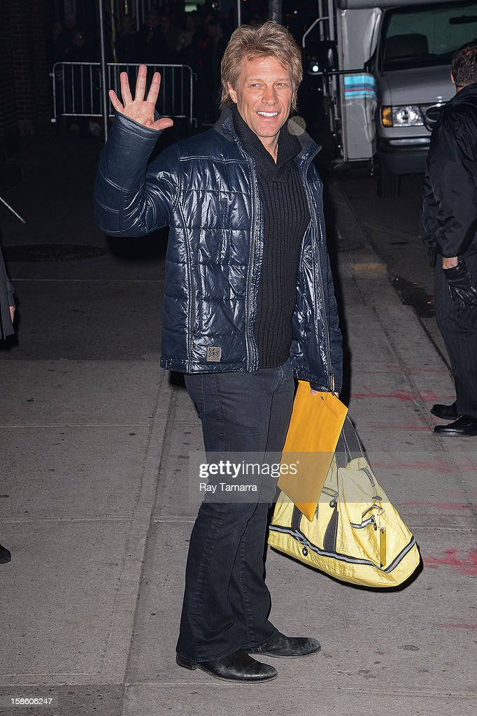 Singer Jon Bon Jovi leaves the 'Late Show With David Letterman' taping at the Ed Sullivan Theater on December 20, 2012 in New York City.