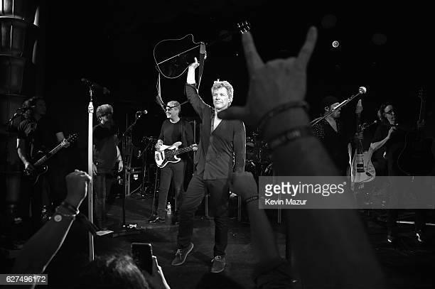 Singer Jon Bon Jovi of Bon Jovi performs during Bon Jovi Live presented by SiriusXM during Art Basel at the Faena Theater on December 3 2016 in Miami...
