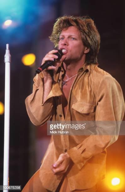 Singer Jon Bon Jovi of Bon Jovi performs on stage in 1996