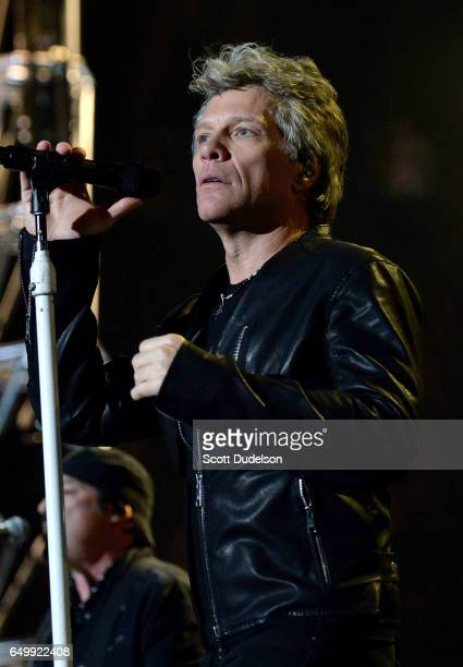 Singer Jon Bon Jovi of the band Bon Jovi performs onstage at The Forum on March 8 2017 in Inglewood California