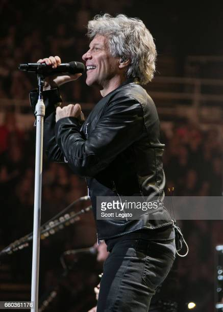 Singer Jon Bon Jovi of the band Bon Jovi performs onstage during the 'This House Is Not For Sale Tour' at Joe Louis Arena on March 29 2017 in Detroit...