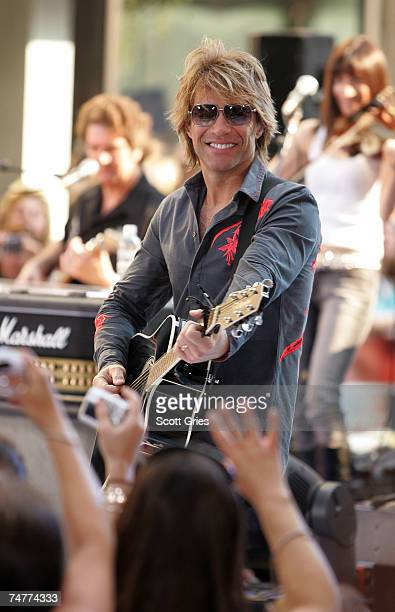 Singer Jon Bon Jovi of the band Bon Jovi performs onstage during the NBC 'Today Show' concert series at Rockefeller Center on June 19 2007 in New...