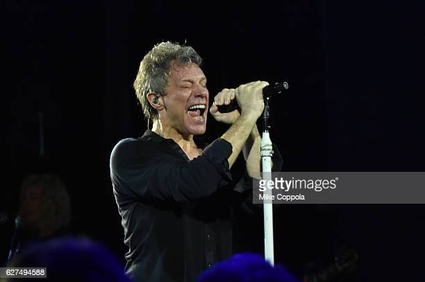 Singer Jon Bon Jovi performs onstage during the Bon Jovi live concert presented by SiriusXM during Art Basel at Faena Theater on December 3 2016 in...