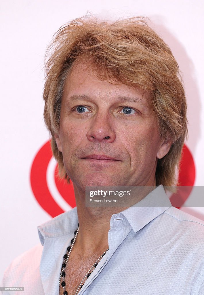 Singer <a gi-track='captionPersonalityLinkClicked' href=/galleries/search?phrase=Jon+Bon+Jovi&family=editorial&specificpeople=201527 ng-click='$event.stopPropagation()'>Jon Bon Jovi</a> poses in the press room at the iHeartRadio Music Festival at the MGM Grand Garden Arena September 21, 2012 in Las Vegas, Nevada.