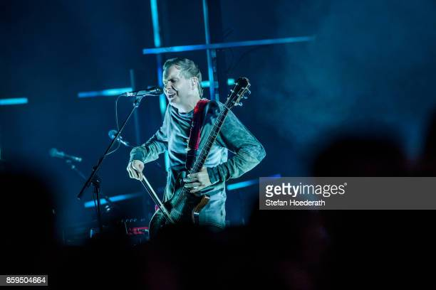 Singer Jon Por Birgisson of Icelandic band Sigur Ros performs live on stage during a concert at Tempodrom on October 9 2017 in Berlin Germany