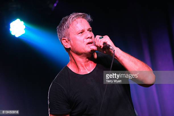 Singer Jon Stevens joins Dave Stewart on stage at The Basement East on March 2 2016 in Nashville Tennessee