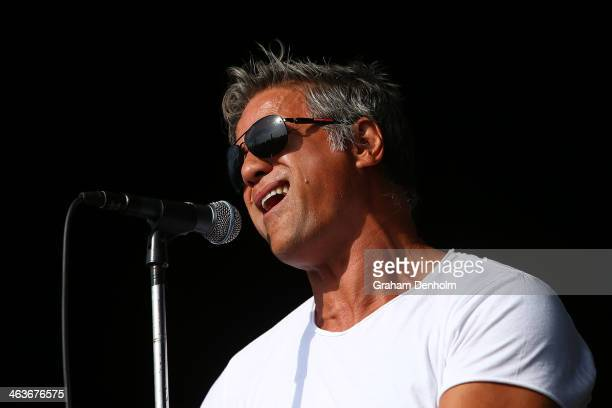 Singer Jon Stevens performs during day 7 of the 2014 Australian Open at Melbourne Park on January 19 2014 in Melbourne Australia