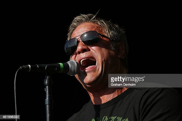 Singer Jon Stevens performs on the Heineken Live Stage during the 2015 Australian Open at Melbourne Park on January 23 2015 in Melbourne Australia