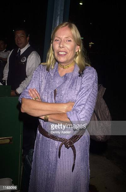 Singer Joni Mitchell leaves Spago restaurant September 6 2001 in Beverly Hills CA
