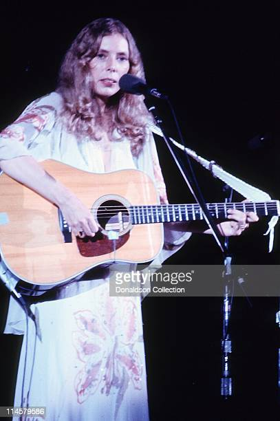 Singer Joni Mitchell performs in 1974 in Los Angeles California