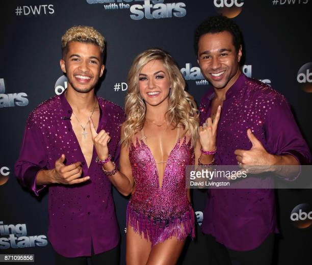 Singer Jordan Fisher dancer Lindsay Arnold and actor Corbin Bleu pose at 'Dancing with the Stars' season 25 at CBS Televison City on November 6 2017...