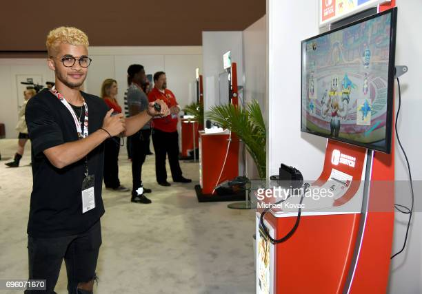 Singer Jordan Fisher plays Arms at the Nintendo booth at the 2017 E3 Gaming Convention at Los Angeles Convention Center on June 14 2017 in Los...