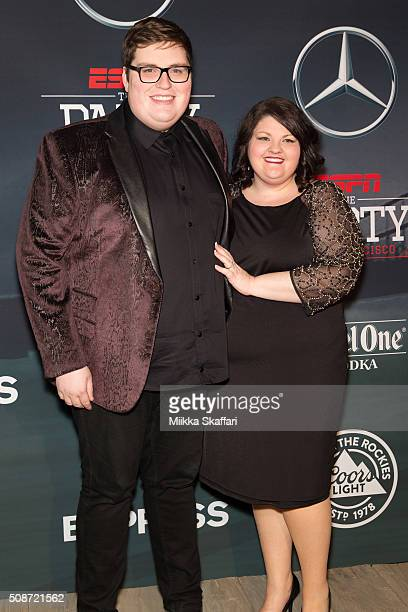 Singer Jordan Smith and his fiance Kristen Denny arrive at the annual ESPN The Party at Fort Mason Center on February 5 2016 in San Francisco...