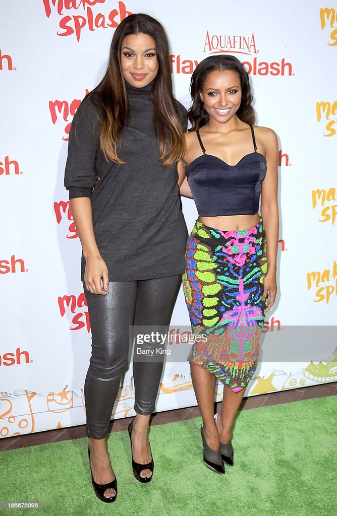 Singer <a gi-track='captionPersonalityLinkClicked' href=/galleries/search?phrase=Jordin+Sparks&family=editorial&specificpeople=4165535 ng-click='$event.stopPropagation()'>Jordin Sparks</a> (L) and actress Kat Graham attend the Aquafina FlavorSplash Launch on October 15, 2013 at Sony Pictures Studios in Culver City, California.