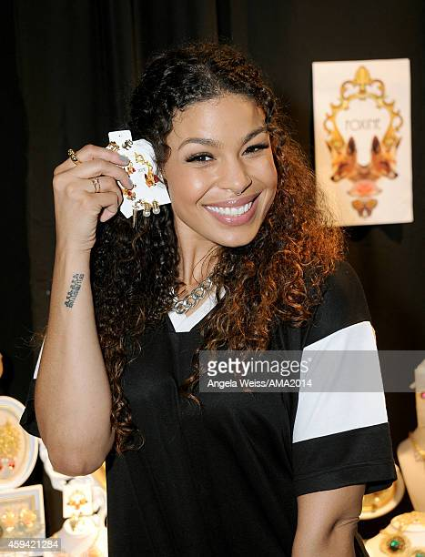 Singer Jordin Sparks attends the 2014 American Music Awards UPS Gifting Suite at Nokia Theatre LA Live on November 22 2014 in Los Angeles California