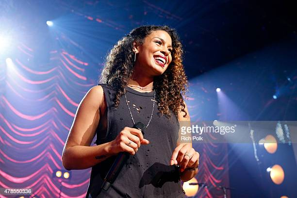 Singer Jordin Sparks performs on the Honda Stage at the iHeartRadio Theater Los Angeles on June 25 2015 in Burbank California