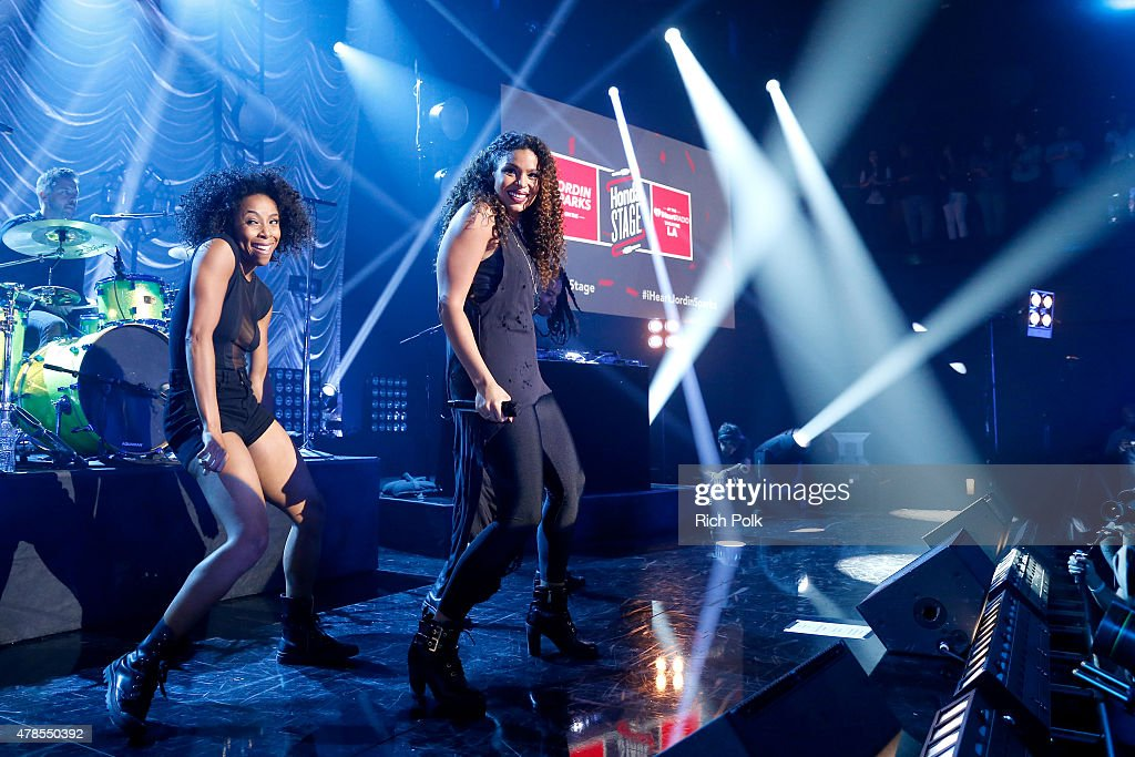 Singer Jordin Sparks (R) performs on the Honda Stage at the iHeartRadio Theater Los Angeles on June 25, 2015 in Burbank, California.