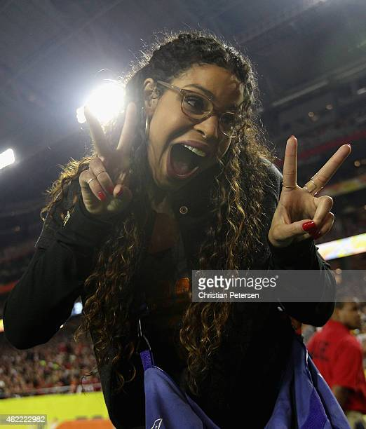 Singer Jordin Sparks poses for a photo during the first half of the 2015 Pro Bowl at University of Phoenix Stadium on January 25 2015 in Glendale...