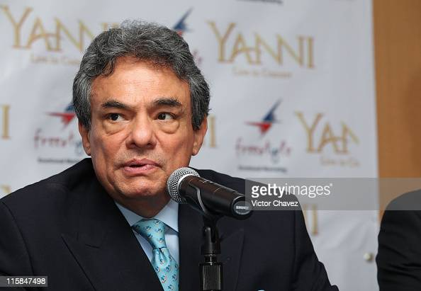 Singer Jose Jose attends a press conference to promote a series of concerts with musician Yanni in Mexico at Hotel Presidente Intercontinental on...