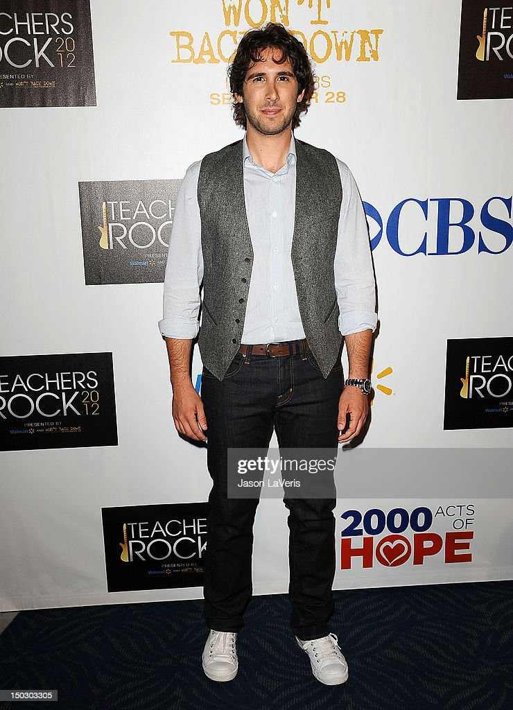 Singer Josh Groban attends the 'Teachers Rock' benefit at Nokia Theatre L.A. Live on August 14, 2012 in Los Angeles, California.