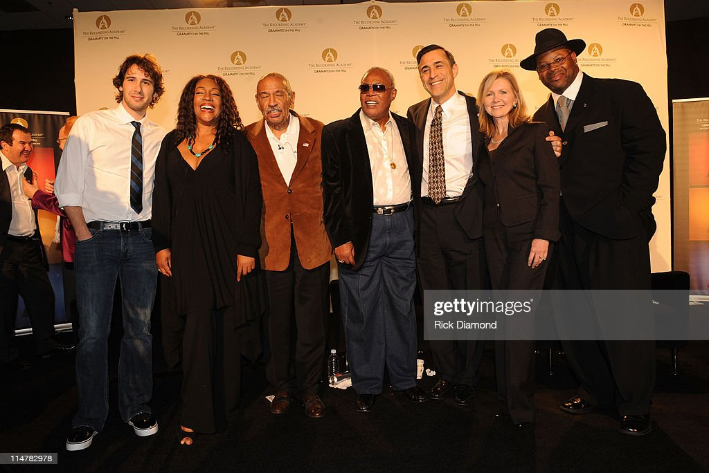 Singer Josh Groban, Singer Mary Wilson, U.S. Representative John Conyers Jr., Musician Sam Moore, U.S. Representative Darrell Issa, U.S. Representative Marsha Blackburn and Music Producer Jimmy Jam attend the Recording Academy's GRAMMY Town Hall dialogue held at the Los Angeles Convention Center on February 6, 2008, Los Angeles, California.