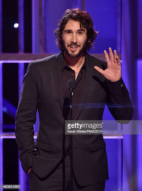 Singer Josh Groban speaks onstage during the PEOPLE Magazine Awards at The Beverly Hilton Hotel on December 18 2014 in Beverly Hills California