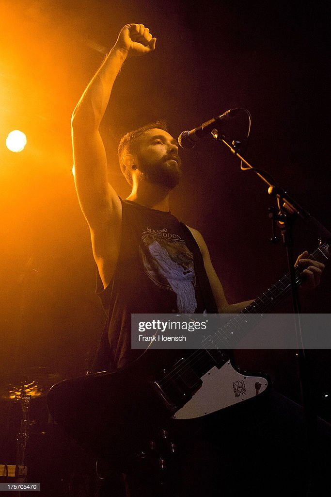 Singer Josh Middleton of Sylosis performs live in support of Lamb of God during a concert at the C-Club on August 6, 2013 in Berlin, Germany.