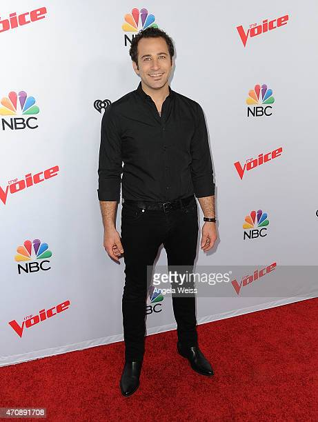 Singer Joshua Davis arrives at NBC's 'The Voice' Season 8 red carpet event at Pacific Design Center on April 23 2015 in West Hollywood California