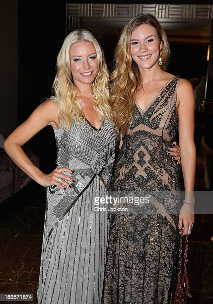 Singer Joss Stone and presenter Denise Van Outen attend a reception ahead of the Sentable 'Forget Me Not' dinner on October 7 2013 in Dubai United...