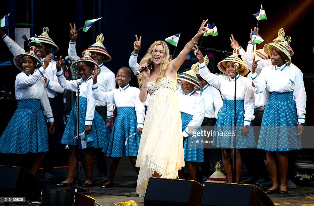 Singer <a gi-track='captionPersonalityLinkClicked' href=/galleries/search?phrase=Joss+Stone&family=editorial&specificpeople=201922 ng-click='$event.stopPropagation()'>Joss Stone</a> and the Basotho Children's choir perform on stage during the Sentebale Concert at Kensington Palace on June 28, 2016 in London, England. Sentebale was founded by Prince Harry and Prince Seeiso of Lesotho over ten years ago. It helps the vulnerable and HIV positive children of Lesotho and Botswana.