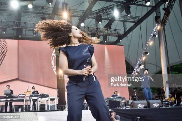 Singer Joy Denalane and Max Herre perform live on stage during the Peace X Peace Festival at the Waldbuehne on June 18 2017 in Berlin Germany