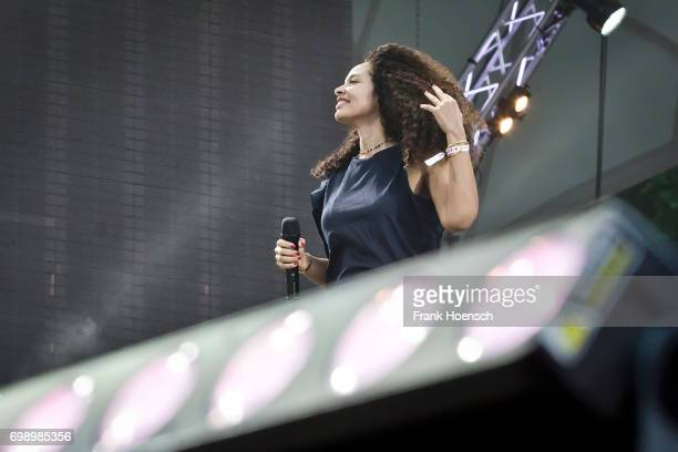 Singer Joy Denalane performs live on stage during the Peace X Peace Festival at the Waldbuehne on June 18 2017 in Berlin Germany
