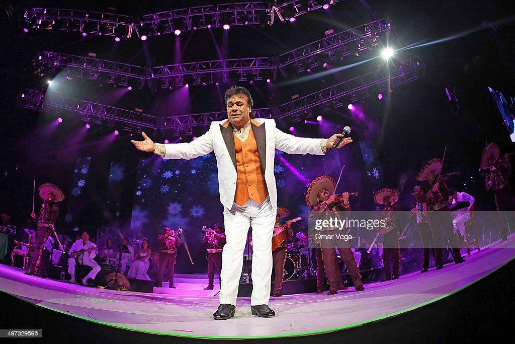 Singer Juan Gabriel performs at the stage during a show as part of the Noa Noa Tour at Toyota Center on November 15, 2015 in Houston, United States.