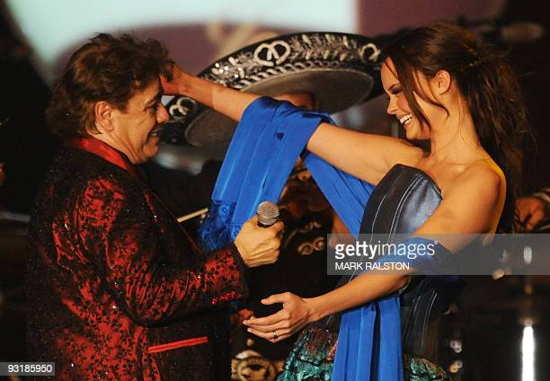 Singer Juan Gabriel serenades singer Shaila Durcal during the 2009 Person Of The Year Honoring Juan Gabriel in Las Vegas Nevada on November 4 2009...