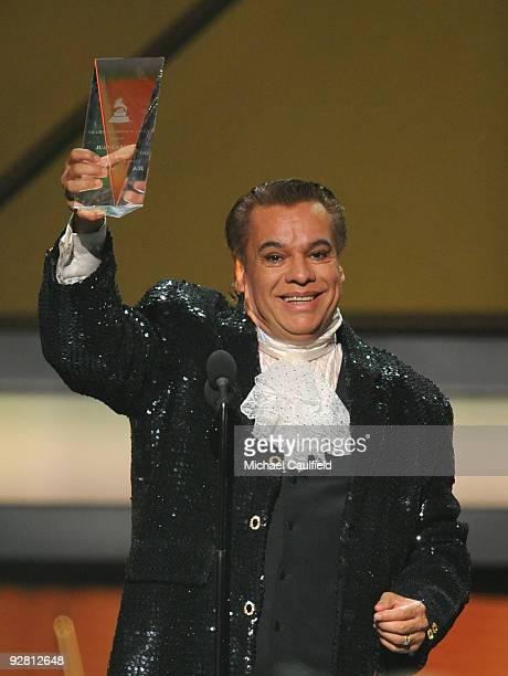 Singer Juan Gabriel speaks onstage at the 10th Annual Latin GRAMMY Awards held at the Mandalay Bay Events Center on November 5 2009 in Las Vegas...