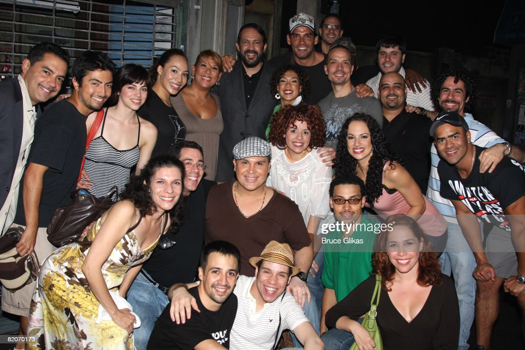 Singer <a gi-track='captionPersonalityLinkClicked' href=/galleries/search?phrase=Juan+Luis+Guerra&family=editorial&specificpeople=208921 ng-click='$event.stopPropagation()'>Juan Luis Guerra</a>, actor Christian de la Fuente and the cast pose backstage at the Tony winning Best Musical 'In The Heights' on Broadway at the Richard Rogers Theatre on July 25, 2008 in New York City.