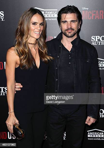 Singer Juanes and wife Karen Martinez attend the premiere of Disney's 'McFarland USA' at the El Capitan Theatre on February 9 2015 in Hollywood...
