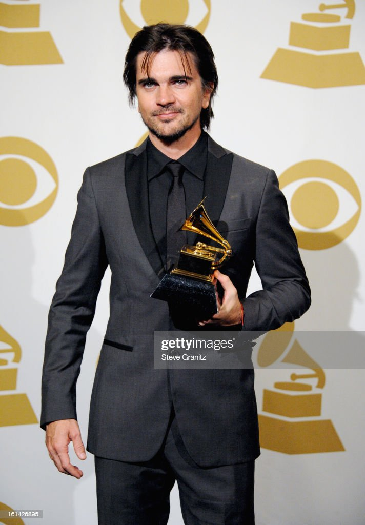 Singer <a gi-track='captionPersonalityLinkClicked' href=/galleries/search?phrase=Juanes&family=editorial&specificpeople=202467 ng-click='$event.stopPropagation()'>Juanes</a> poses in the press room during the 55th Annual GRAMMY Awards at STAPLES Center on February 10, 2013 in Los Angeles, California.