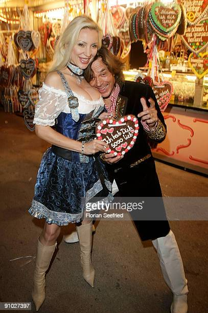 Singer Juergen Drews and wife Ramona Drews attend the GoldstarTV wiesn 2009 at Weinzelt at the Theresienwiese on September 22 2009 in Munich Germany...