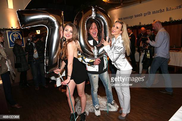 Singer Juergen Drews with his daughter and his wife Ramona Drews during the 'Juergen Drews 70th Birthday Party' at Hofbraeuhaus on April 02 2015 in...