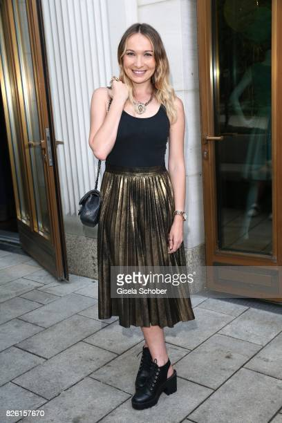 Singer Julia Kautz during the presentation of Victoria Swarovski's dirndl collection 'Candy Collection' by Krueger at 'The Charles' Hotel on August 3...