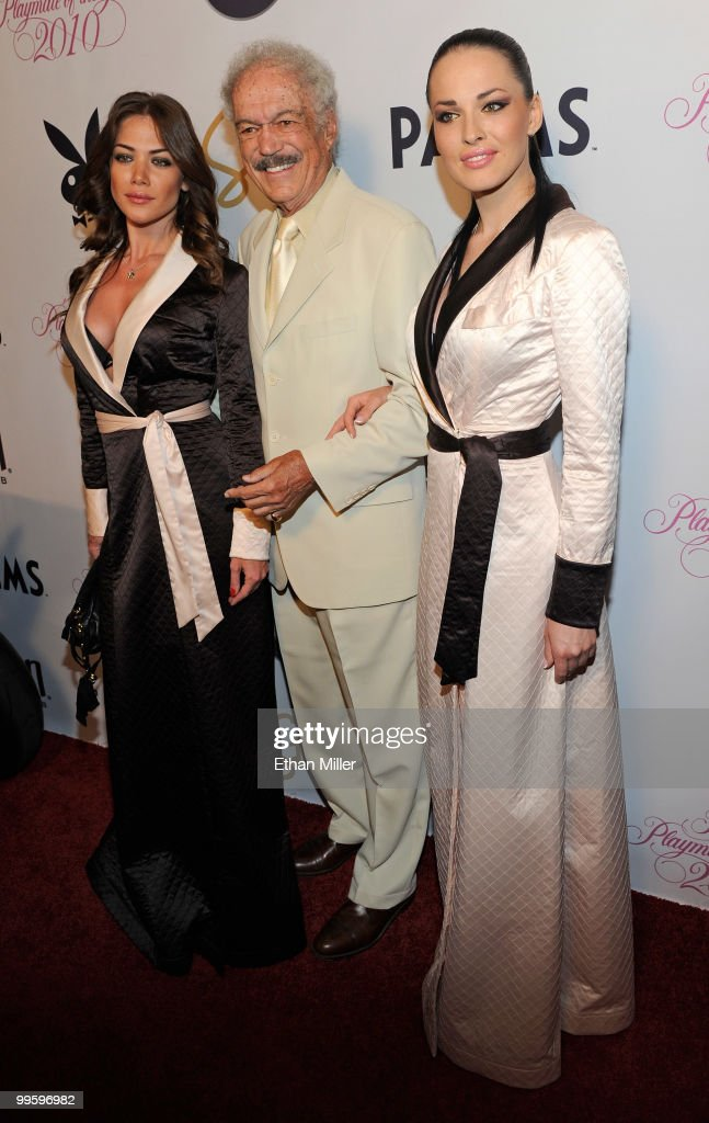 Singer Julia Kavtaradze (L) and Playboy Playmate and singer Dasha Astafieva (R) of the Ukranian pop music group NikitA flank Hugh Hefner's brother <a gi-track='captionPersonalityLinkClicked' href=/galleries/search?phrase=Keith+Hefner&family=editorial&specificpeople=3635830 ng-click='$event.stopPropagation()'>Keith Hefner</a> (C) as they arrive at a party introducing model Hope Dworaczyk as the 2010 Playboy Playmate of the Year at the Rain Nightclub inside the Palms Casino Resort May 15, 2010 in Las Vegas, Nevada.