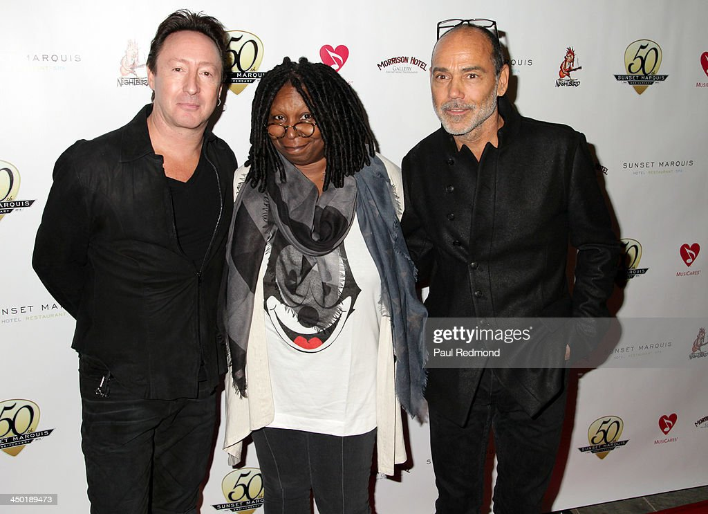 Singer <a gi-track='captionPersonalityLinkClicked' href=/galleries/search?phrase=Julian+Lennon&family=editorial&specificpeople=211480 ng-click='$event.stopPropagation()'>Julian Lennon</a>, TV personality <a gi-track='captionPersonalityLinkClicked' href=/galleries/search?phrase=Whoopi+Goldberg&family=editorial&specificpeople=202463 ng-click='$event.stopPropagation()'>Whoopi Goldberg</a> and photographer Timothy White attend Sunset Marquis Hotel 50th Anniversary Birthday Bash at Sunset Marquis Hotel & Villas on November 16, 2013 in West Hollywood, California.
