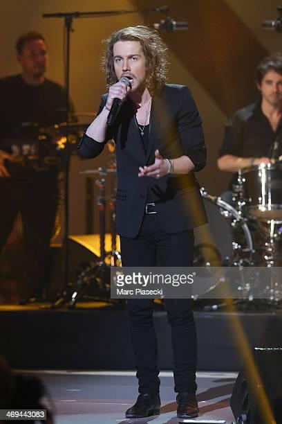 Singer Julien Dore performs during the 'Les Victoires de la musique 2014' ceremony at Le Zenith on February 14 2014 in Paris France