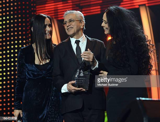Singer Julieta Venegas honoree Caetano Veloso and actress Sonia Braga during the 2012 Person of the Year honoring Caetano Veloso at the MGM Grand...