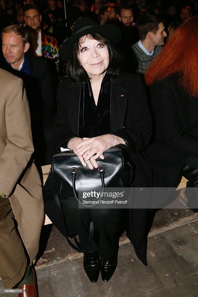 Singer <a gi-track='captionPersonalityLinkClicked' href=/galleries/search?phrase=Juliette+Greco&family=editorial&specificpeople=210869 ng-click='$event.stopPropagation()'>Juliette Greco</a> attends the Saint Laurent Menswear Fall/Winter 2014-2015 Show as part of Paris Fashion Week on January 19, 2014 in Paris, France.